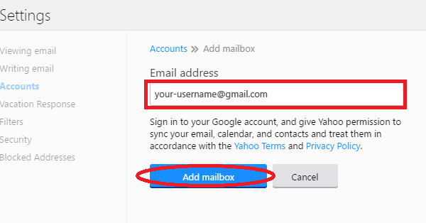 Gmail settings for Yahoo