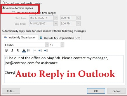 auto reply in outlook