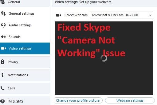 Camera not working in Skype